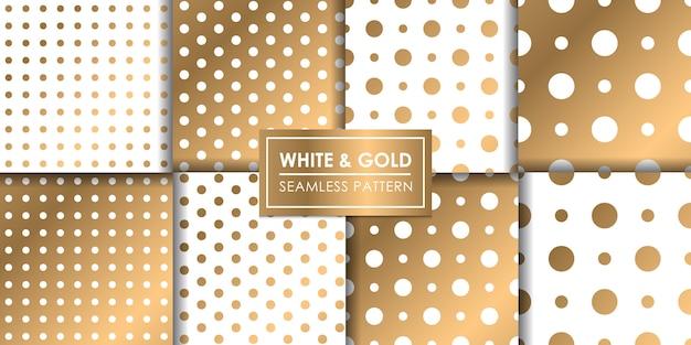 Biały i złoty luksusowy wzór polkadot, tapeta dekoracyjna. Premium Wektorów
