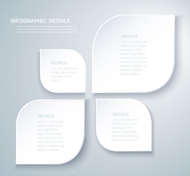 Biały liść szablon graficzny wektor informacji z 4 opcjami Premium Wektorów