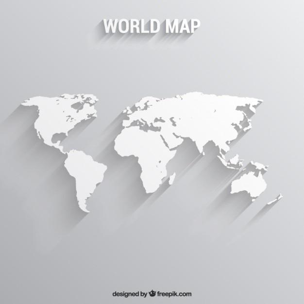 Biały mapa świata Darmowych Wektorów