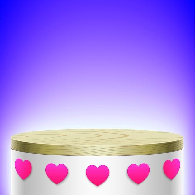 Biały Owalny Wyświetlacz Z Drewnianą Obudową I Ikonami W Różowym Serduszku Na Fioletowym Tle. Premium Wektorów