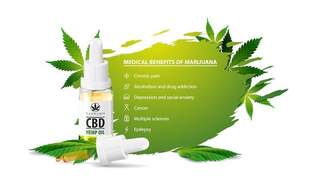 Biały Plakat Przedstawiający Właściwości Medyczne Marihuany, Biały Baner Na Stronę Internetową Premium Wektorów