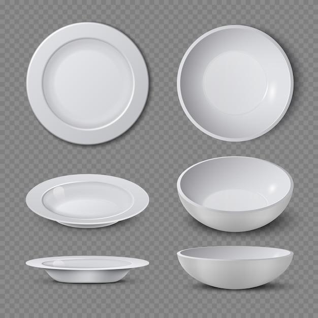 Biały pusty ceramiczny talerz w różnych punktach widzenia odizolowywał wektorową ilustrację. talerz i naczynie czyste do kuchni, naczynia porcelanowe Premium Wektorów