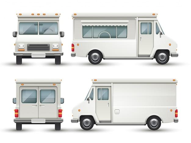 Biały pusty samochód żywności Premium Wektorów
