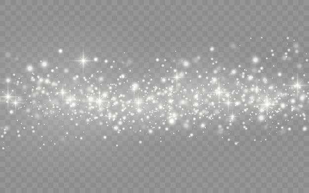 Biały Pył Iskry I Gwiazda świecą Specjalnym światłem, Musujące Magiczne Cząsteczki Pyłu Na Przezroczystym Tle, świecą światła, Blask, Ilustracji Wektorowych. Premium Wektorów