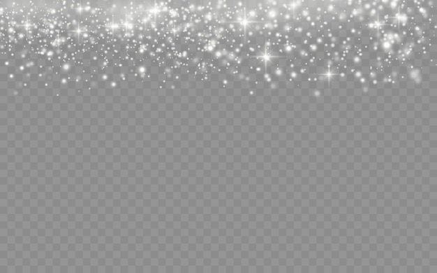 Biały Pył Iskrzy I Gwiazda świeci Specjalnym światłem, Efekt świątecznego Blasku światła, Musujące Magiczne Cząsteczki Pyłu Na Przezroczystym Tle, Blask światła, Blask,. Premium Wektorów