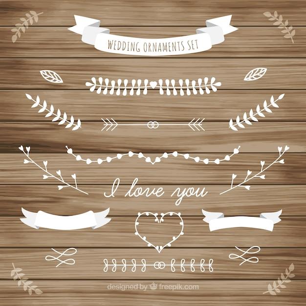 Biały ślub ozdoba zbierania liści Darmowych Wektorów