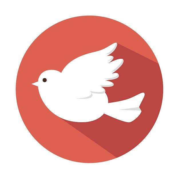 Biały ślub Ptaka Na Białym Tle Premium Wektorów