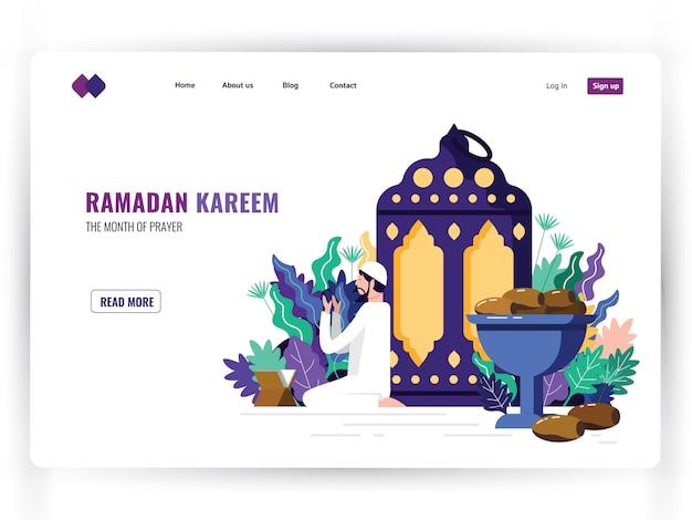 Biały Szablon Strony Docelowej świętego Miesiąca Modlitwy, Ramadan Kareem. Premium Wektorów