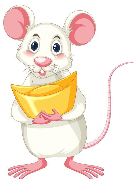 Biały Szczur Gospodarstwa Złota Na Białym Tle Darmowych Wektorów