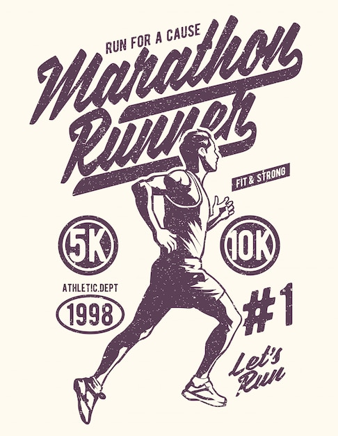 Biegacz W Maratonie Premium Wektorów