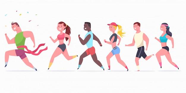 Biegacze kobiet i mężczyzn. postać sportowców na maratonie. Premium Wektorów
