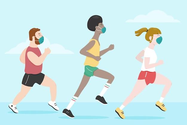 Biegacze W Maskach Medycznych Premium Wektorów