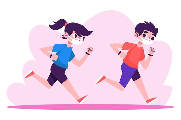 Biegacze Z Maskami Medycznymi Na Zewnątrz Darmowych Wektorów