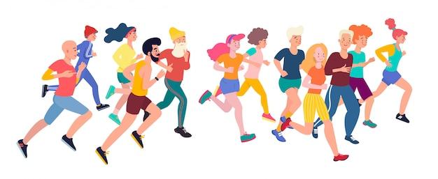 Bieganie Ludzi. Grupa Maratońska Biegnących Mężczyzn I Kobiet Ubranych W Sportowe Stroje. Płaskie Postaci Z Kreskówek Na Białym Tle. Premium Wektorów