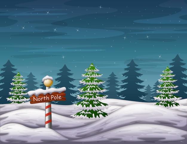 Biegun Północny Znak W Zimowym Lesie Czarów Lasu Premium Wektorów