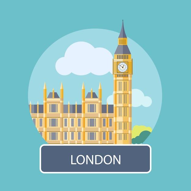 Big ben i westminster bridge, londyn, wielka brytania Premium Wektorów