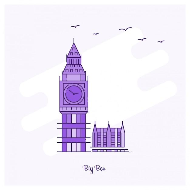 Big ben landmark purple dotted line skyline Premium Wektorów