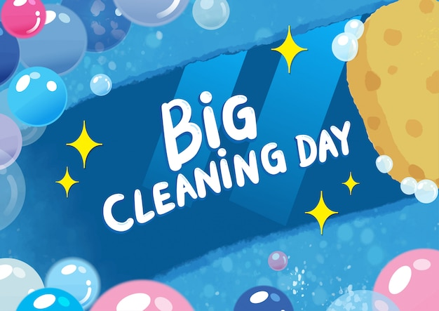 Big Cleaning Day Colorful Illustration Premium Wektorów