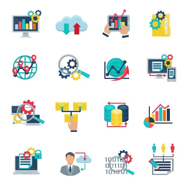 Big Danych Analytics Technologii Płaskie Ikony Ustawiać Z Internet Chmurą Darmowych Wektorów