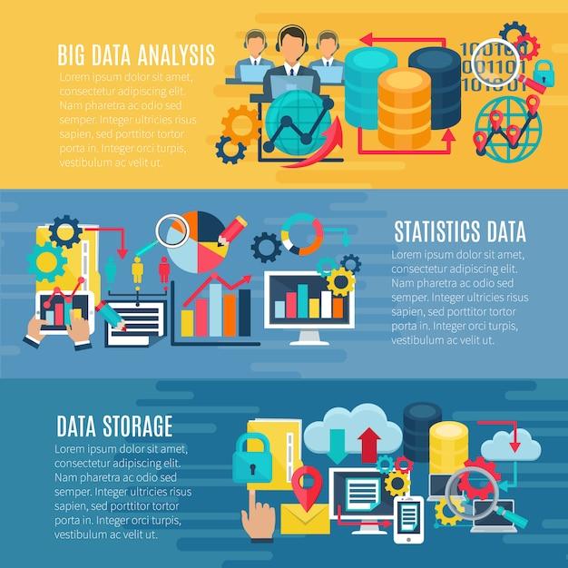 Big data statystyka analiza przechowywania en technik przetwarzania 3 płaskie poziome bannery zestaw abstrakcyjny Darmowych Wektorów