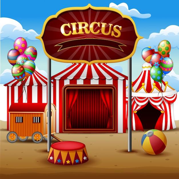Big top namioty cyrkowe białe i czerwone tło Premium Wektorów