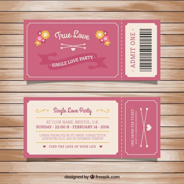 Bilet Dla Jednej Partii Miłości Darmowych Wektorów
