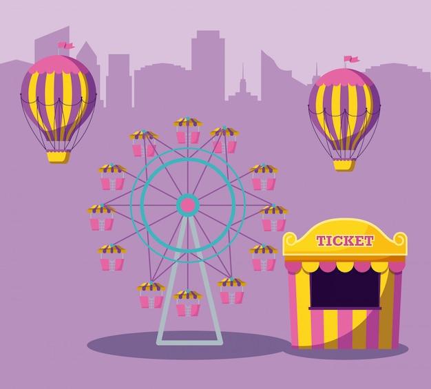 Bilet Sprzedaży Namiotu Cyrkowego Z Parkiem Rozrywki Premium Wektorów