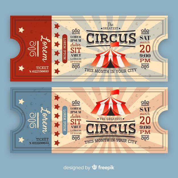 Bilet w stylu cyrkowym Darmowych Wektorów
