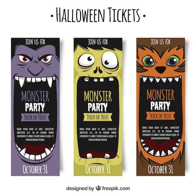 Bilety na halloween z potworami Darmowych Wektorów