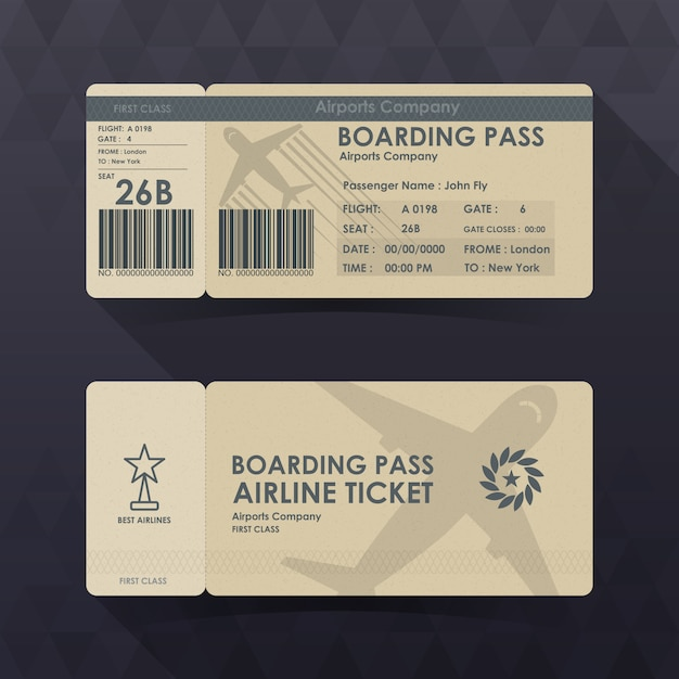 Bilety na kartę pokładową projekt z brązowego papieru. Premium Wektorów