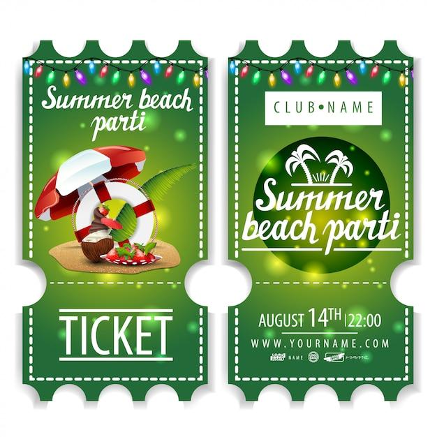 Bilety na letnią imprezę na plaży Premium Wektorów