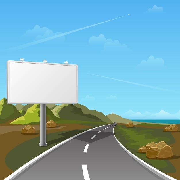 Billboard Drogowy Z Tłem Krajobrazu. Billboard Reklamowy, Reklama Pusta, Billboard Zewnętrzny, Ilustracja Billboardu Plakatowego Darmowych Wektorów