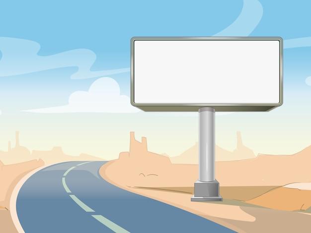 Billboard Reklamy Drogowej I Pustynny Krajobraz. Komercyjna Pusta Rama Zewnętrzna. Ilustracji Wektorowych Darmowych Wektorów