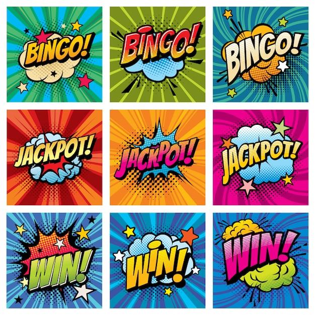 Bingo I Wygraj Zestaw Pop-artu Z Komiksowymi Bąbelkami Premium Wektorów