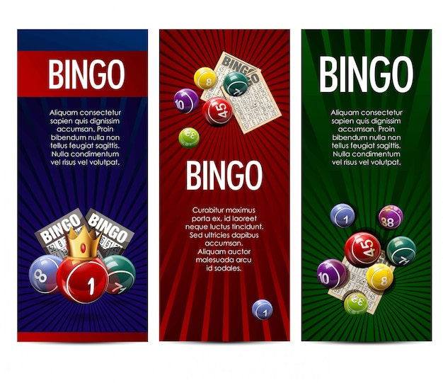 Bingo loterii lotto gry wektor banery zestaw Premium Wektorów