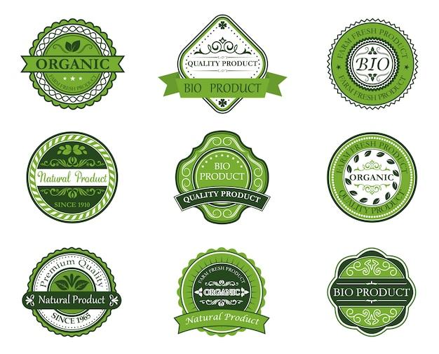 Bio I Ekologiczne Etykiety Premium Wektorów