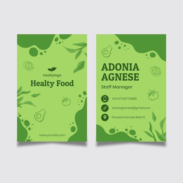 Bio I Szablon Wizytówki Zdrowej żywności Premium Wektorów