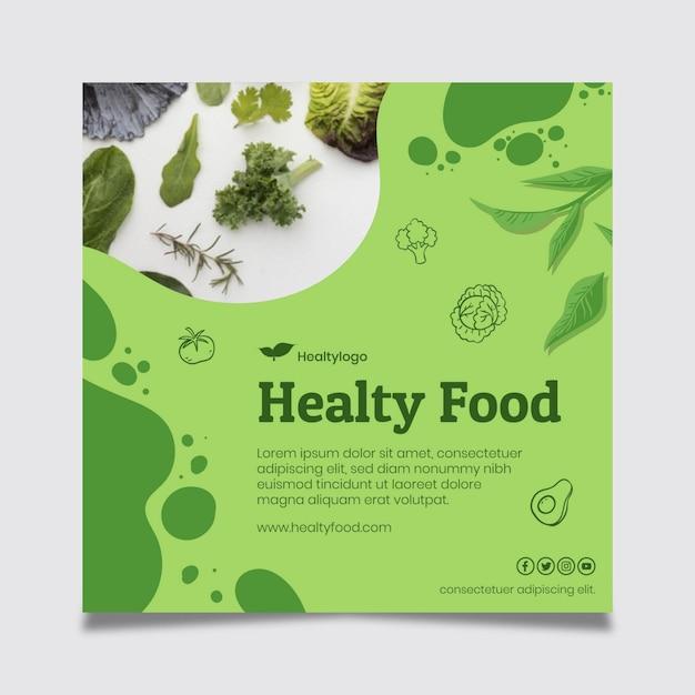 Bio I Zdrowa żywność Kwadratowa Ulotka Szablon Darmowych Wektorów