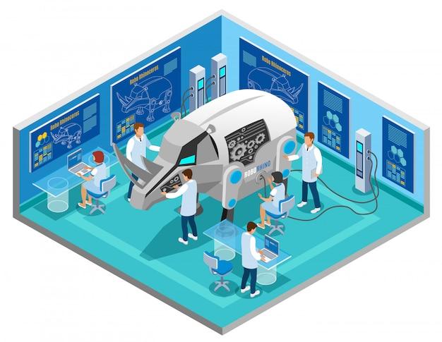 Bio-roboty Zastępujące Skład Izometryczny Testujący Na Zwierzętach Zautomatyzowaną Procedurą Badawczą Z Nosorożca W Laboratorium Naukowym Darmowych Wektorów