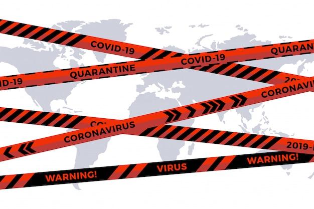 Biohazard Niebezpieczeństwo Taśmy Na Białej Mapie świata Wyciąć Mapę. Wstążka Ogrodzeniowa Bezpieczeństwa. światowa Grypa Kwarantannowa. Ostrzeżenie Przed Niebezpieczeństwem Grypy. Globalny Pandemiczny Koronawirus Covid-19 Premium Wektorów
