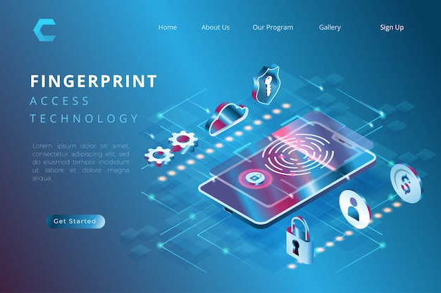 Biometryczna Ilustracja Ochrona Dla Weryfikacji, Ilustracja Technologia Używa Odciski Palca W Isometric 3d Ilustraci Stylu Premium Wektorów