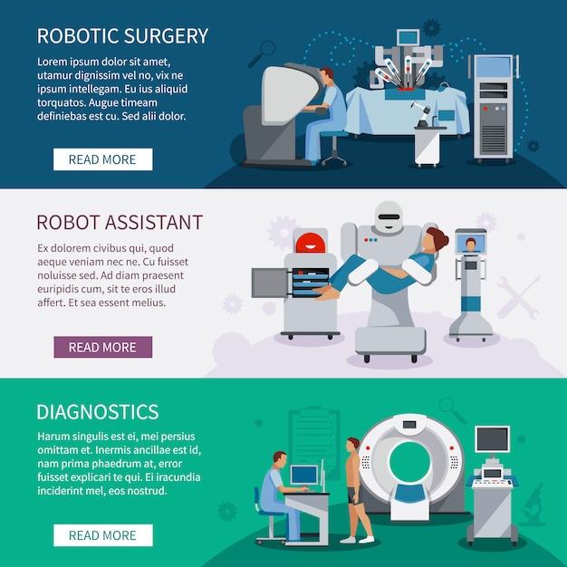 Bionic Banery Zestaw Narzędzi Do Chirurgii Robotów I Innowacyjnych Urządzeń Medycznych Diagnostycznych Płaskich Vec Darmowych Wektorów