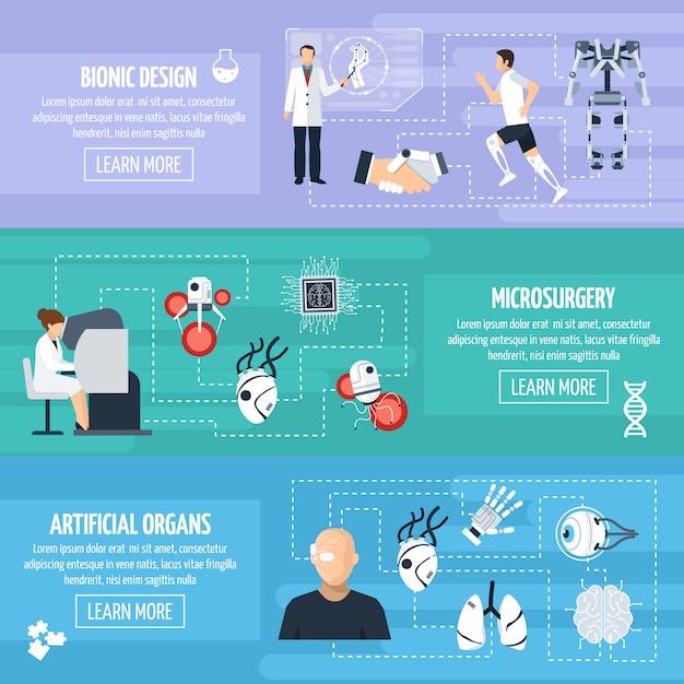Bionic Technology Horizontal Banners Darmowych Wektorów