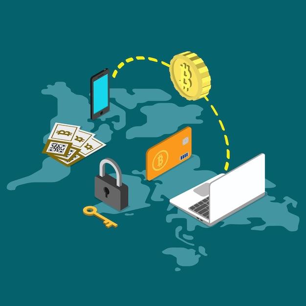 Bitcoin Bezpieczny Przelew Na Całym świecie Płaski Darmowych Wektorów