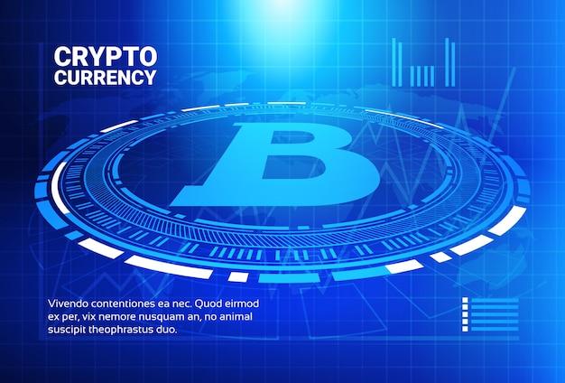 Bitcoin mapy na błękitnym światowej mapy tła crypto waluty handlu pojęcia dane infographic sztandarze Premium Wektorów