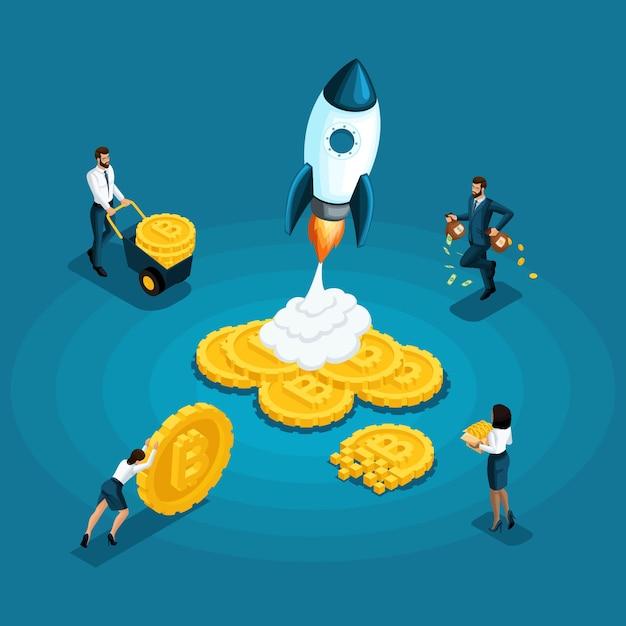 Bitcoiny, Koncepcja Ico Blockchain, Wydobywanie Kryptowalut, Odizolowany Projekt Startowy, Pracodawca Wypłaca Zarobione Pieniądze Premium Wektorów