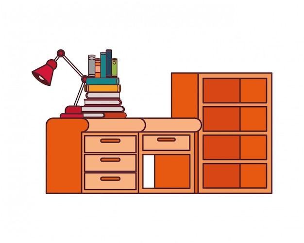 Biurko I Regały Z Stertą Książek Darmowych Wektorów