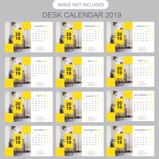 Biurko kalendarz 2019 Premium Wektorów