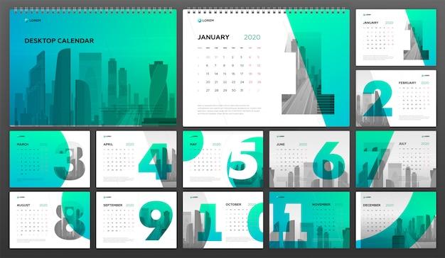 Biurko Kalendarz 2020 Szablon Biznes Premium Wektorów