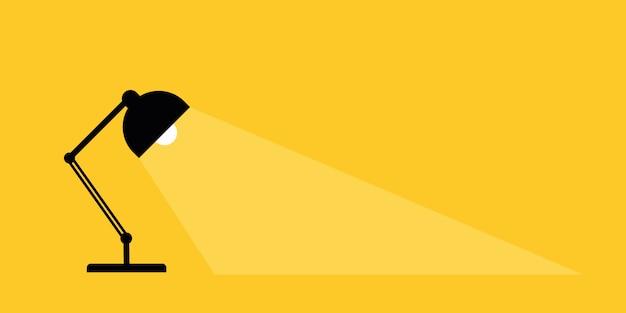 Biurkowa Lampa Biurkowa. Miejsce Na Twój Tekst. Lampy Oświetlają światła. Premium Wektorów